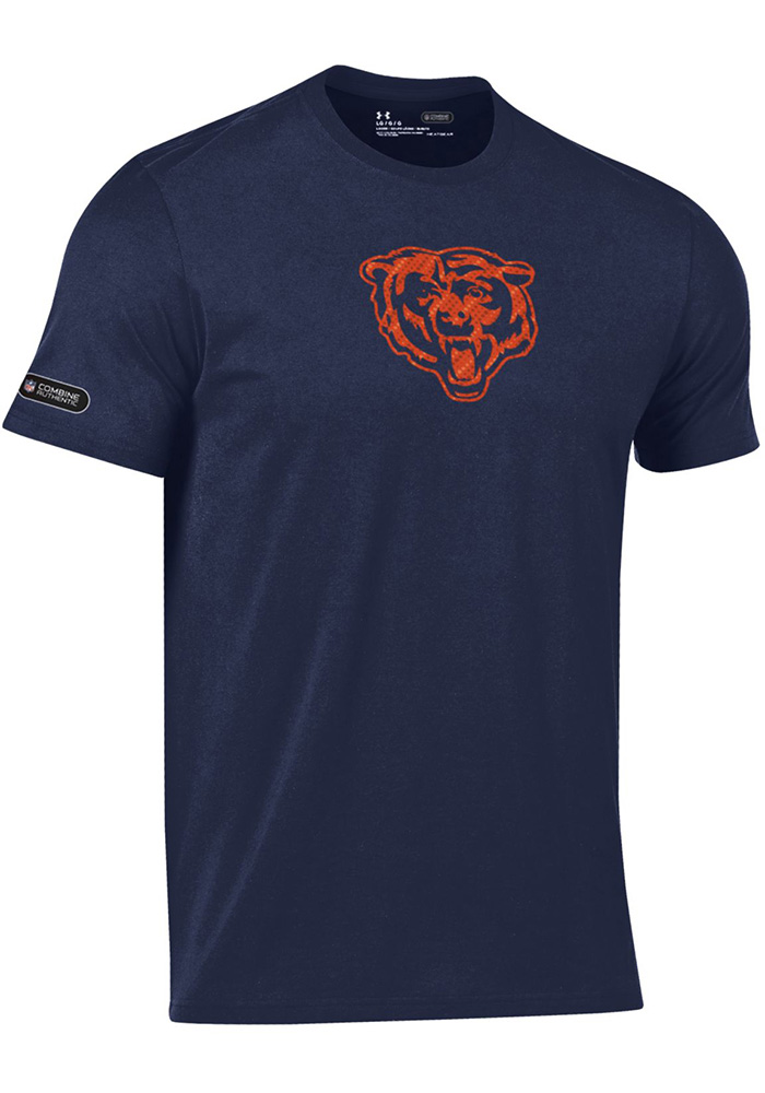 Under Armour Chicago Bears Navy Blue Primary Logo Short Sleeve T Shirt - Image 1