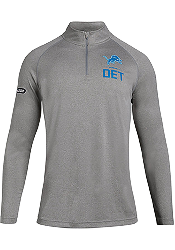 b8347fbed19 Under Armour Detroit Lions Mens Grey Combine Lockup Long Sleeve 1 4 Zip  Pullover -