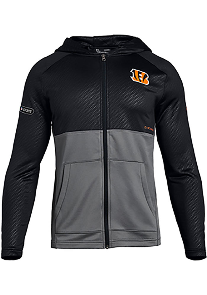 Under Armour Cincinnati Bengals Mens Black Embossed MK1 Long Sleeve Zip - Image 1