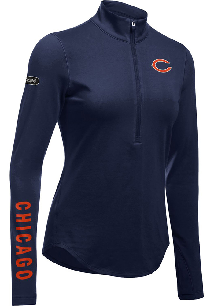 Under Armour Chicago Bears Womens Navy Blue Combine Authentic 1/4 Zip Pullover - Image 1
