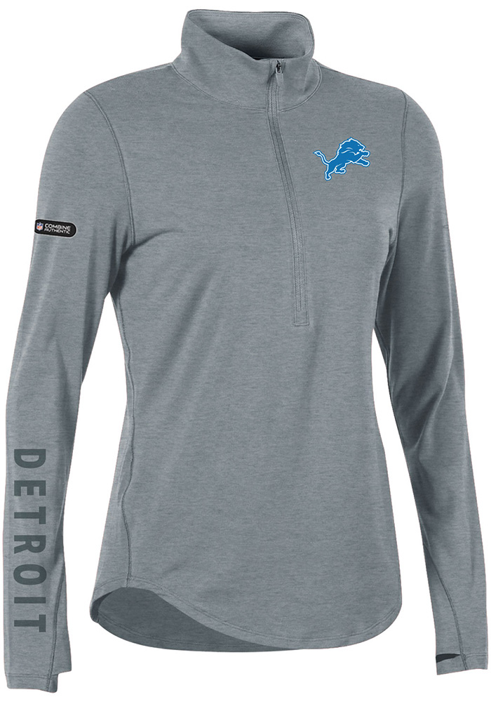 Under Armour Detroit Womens Grey Combine Authentic 1/4 Zip Pullover - Image 1