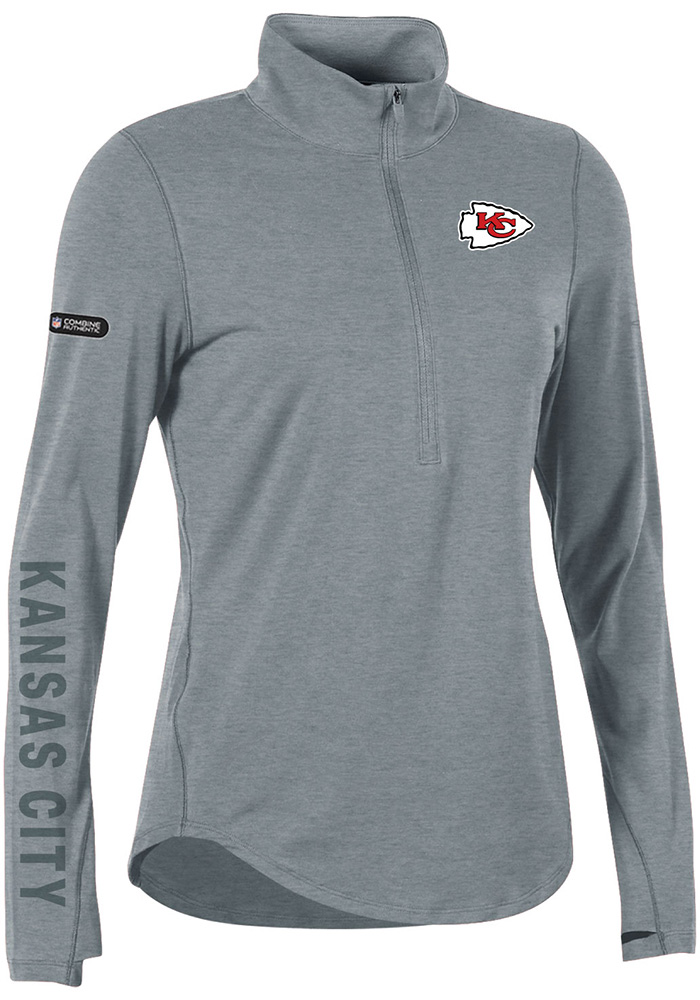 Under Armour Kansas City Chiefs Womens Combine Authentic Grey 1 4 Zip  Pullover 75d58702f