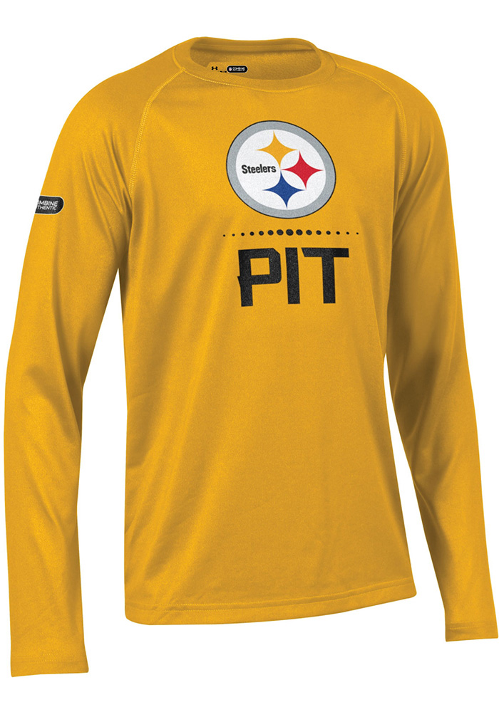 da8183883387 Under Armour Pittsburgh Steelers Youth Gold Combine Authentic Long Sleeve  T-Shirt - Image 1