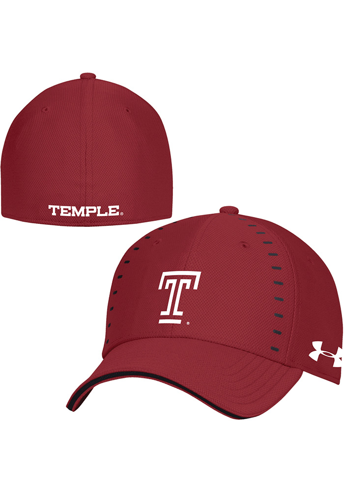 Under Armour Temple Owls Mens Maroon 2018 Sideline Blitzing Accent Flex Hat - Image 1