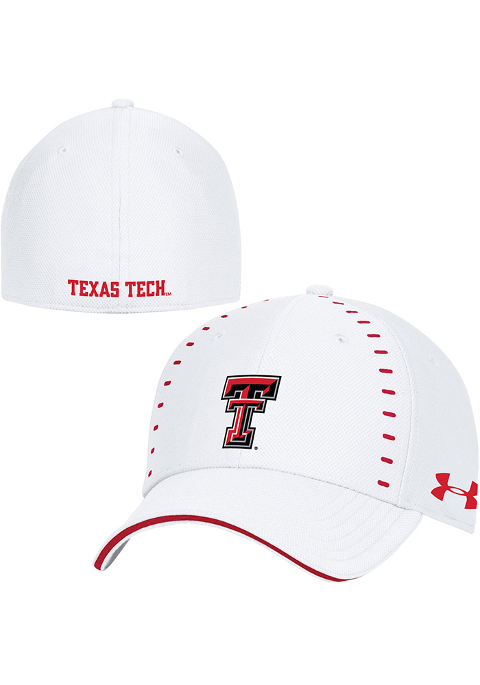 Under Armour Texas Tech Red Raiders White 2018 Sideline Blitzing Accent  Flex Hat 9dae800dd96a