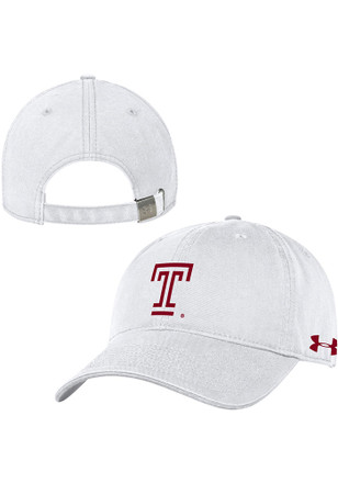 Under Armour Temple Owls White 2018 Sideline Twill Adjustable Hat 02f84f83e68b