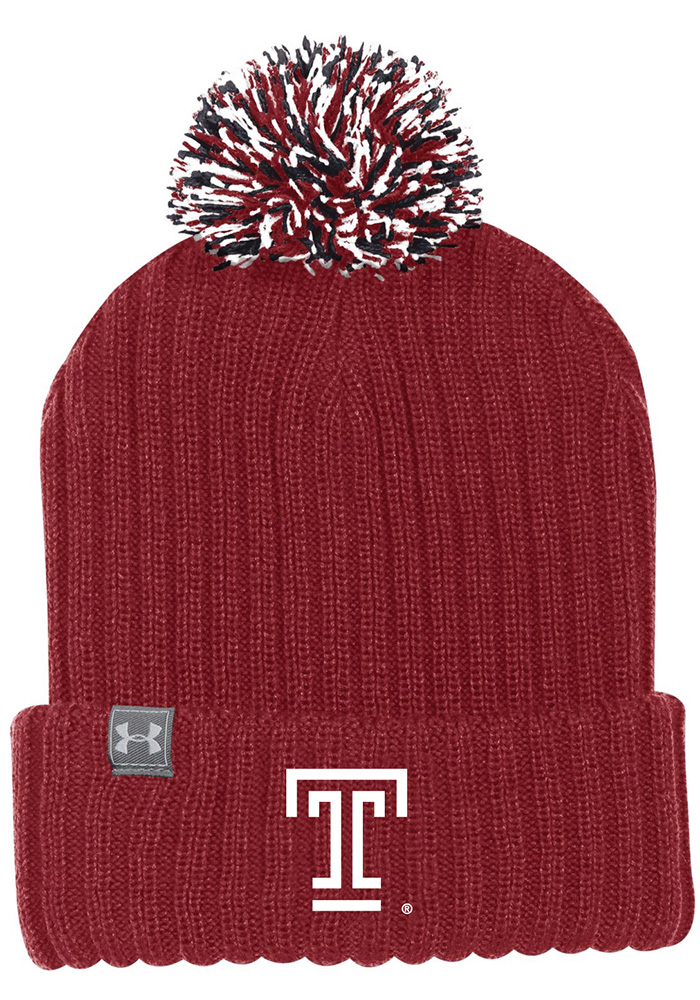 216966c6b Under Armour Temple Owls Maroon 2018 Sideline Pom Knit Hat