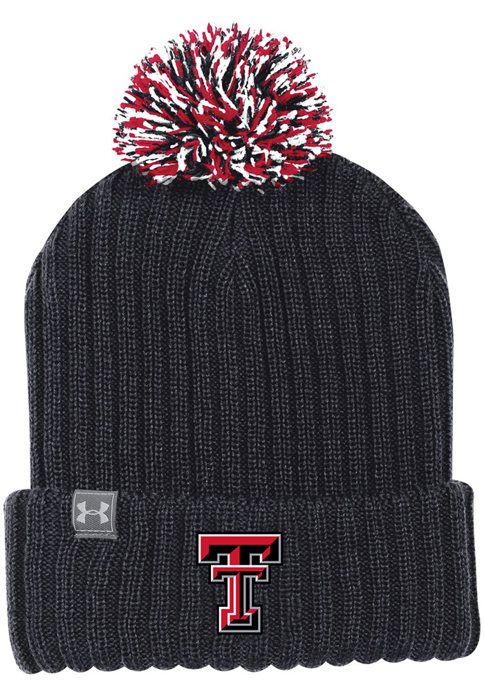 Under Armour Texas Tech Red Raiders Black 2018 Sideline Pom Mens Knit Hat - Image 1