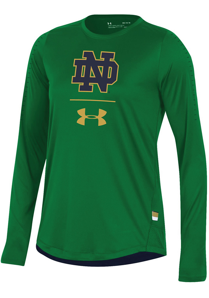 Under Armour Notre Dame Fighting Irish Womens Green Training Long Sleeve T-Shirt - Image 1