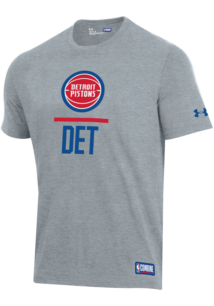 Under Armour Detroit Pistons Grey Lockup Short Sleeve T Shirt - Image 1