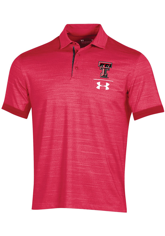 Under Armour Texas Tech Red Raiders Mens Red Playoff Vented Short Sleeve Polo - Image 1