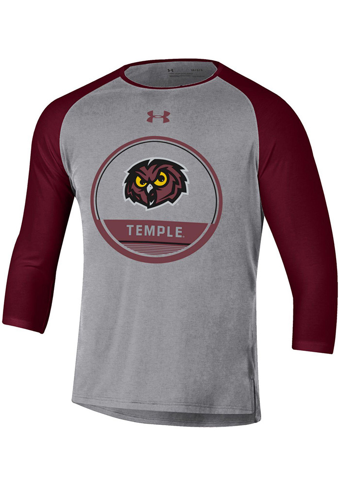 Under Armour Temple Owls Grey Freestyle Half Sleeve Long Sleeve T Shirt - Image 1