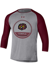 Temple Owls Under Armour Freestyle Half Sleeve T Shirt - Grey