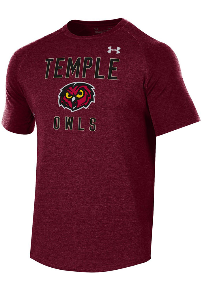 Temple Owls Under Armour Freestyle Long Line T Shirt - Maroon