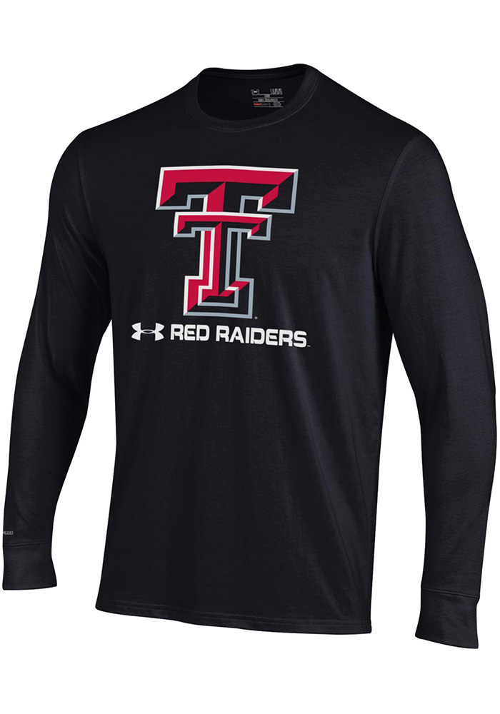 Under Armour Texas Tech Red Raiders Black Charged Cotton Long Sleeve T Shirt - Image 1