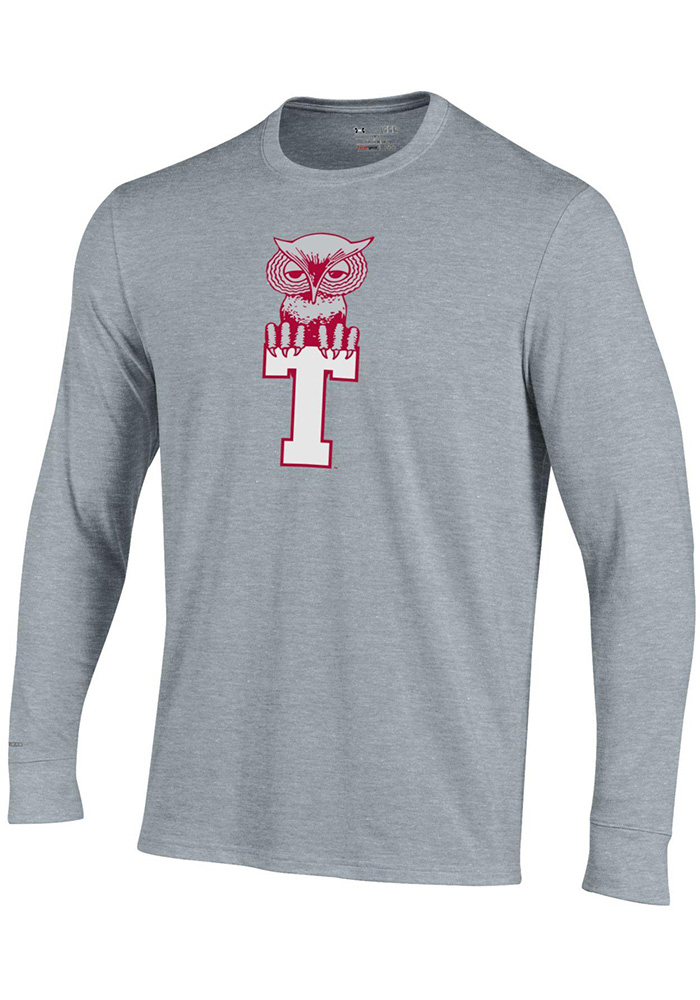Under Armour Temple Owls Grey Charged Cotton Long Sleeve T Shirt - Image 1