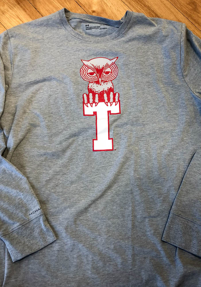 Under Armour Temple Owls Grey Charged Cotton Long Sleeve T Shirt - Image 2