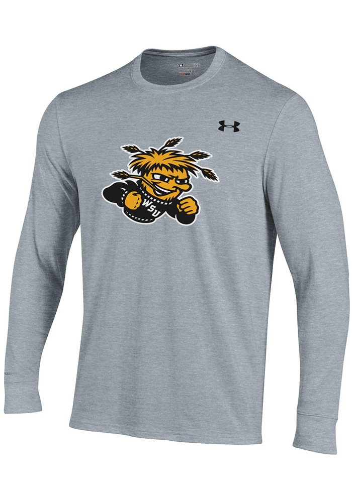 Under Armour Wichita State Shockers Grey Charged Cotton Long Sleeve T Shirt - Image 1