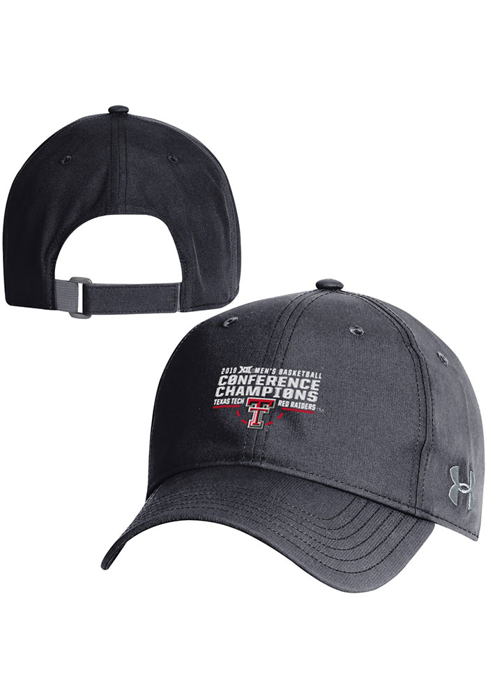 Under Armour Texas Tech Red Raiders Mens Black 2019 Big 12 Basketball Champions Adjustable Hat - Image 1