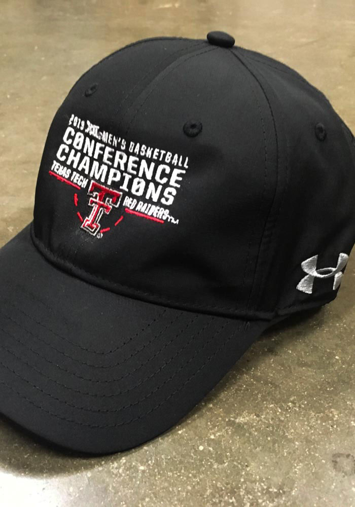 Under Armour Texas Tech Red Raiders Mens Black 2019 Big 12 Basketball Champions Adjustable Hat - Image 2