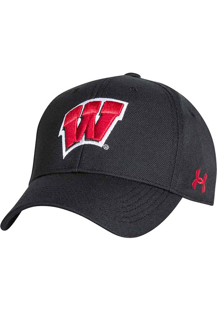Under Armour Wisconsin Badgers OTS Structured Adjustable Hat - Black - Image 1