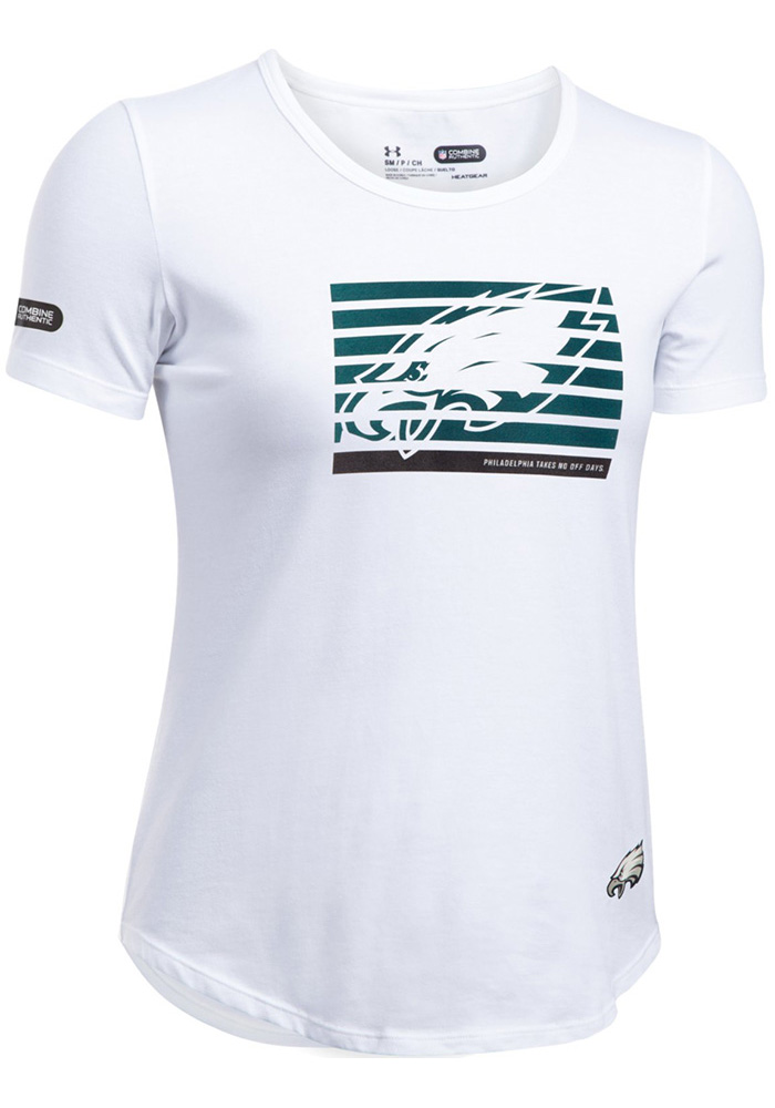 Under Armour Philadelphia Eagles Womens White Combine Authentic Short Sleeve T-Shirt - Image 1