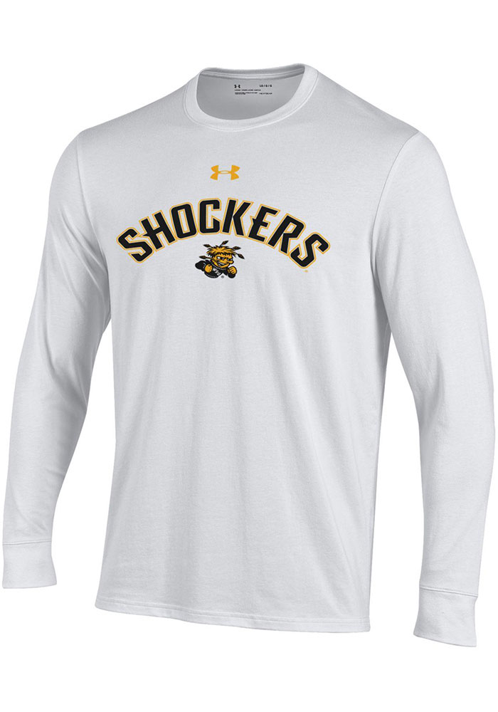 Under Armour Wichita State Shockers White Arch Mascot Long Sleeve T Shirt - Image 1