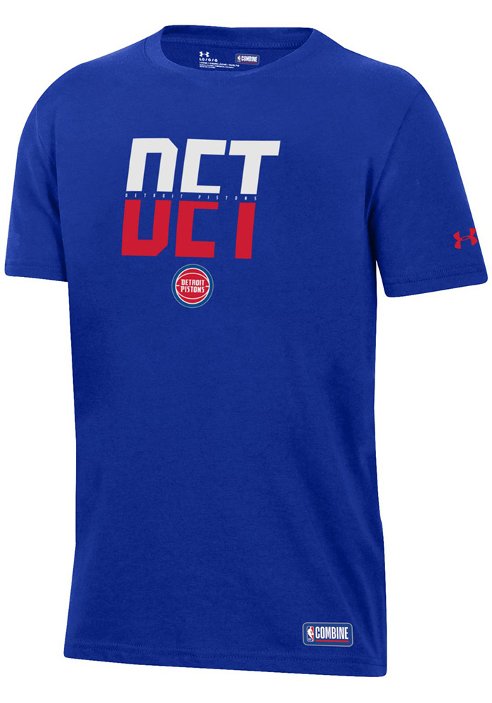Under Armour Detroit Pistons Youth Blue City Abbreviation Short Sleeve T-Shirt - Image 1