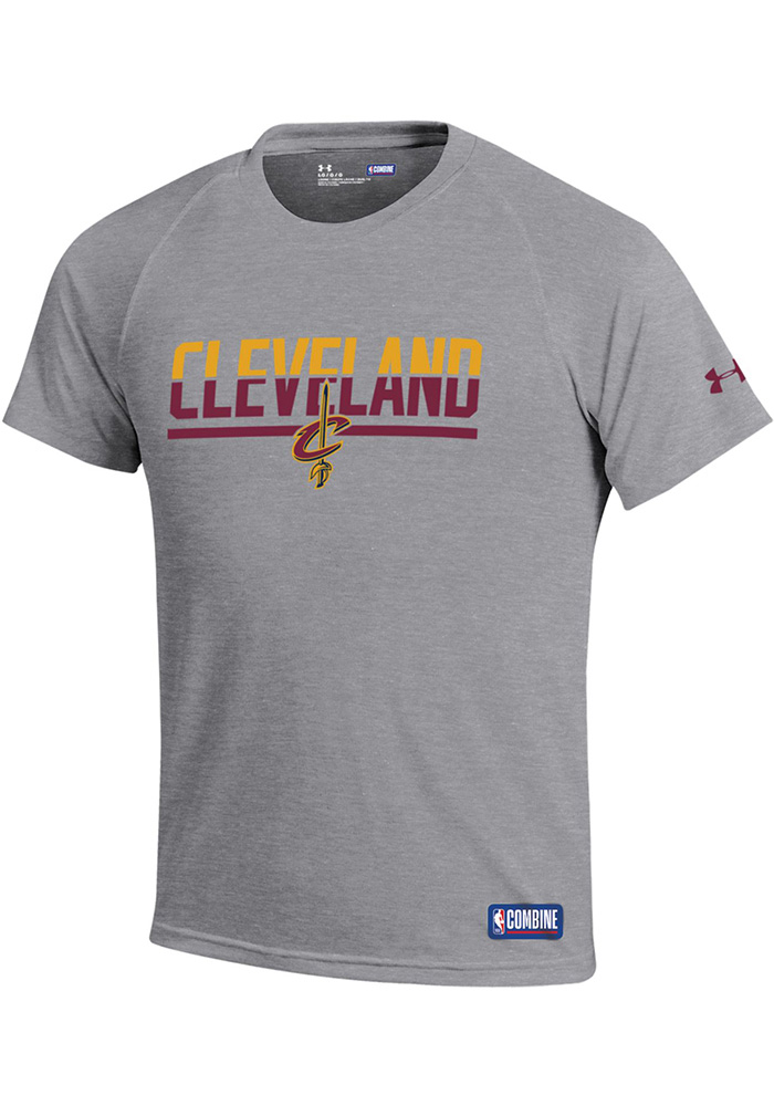 Under Armour Cleveland Cavaliers Youth Grey Split Tech Short Sleeve T-Shirt - Image 1
