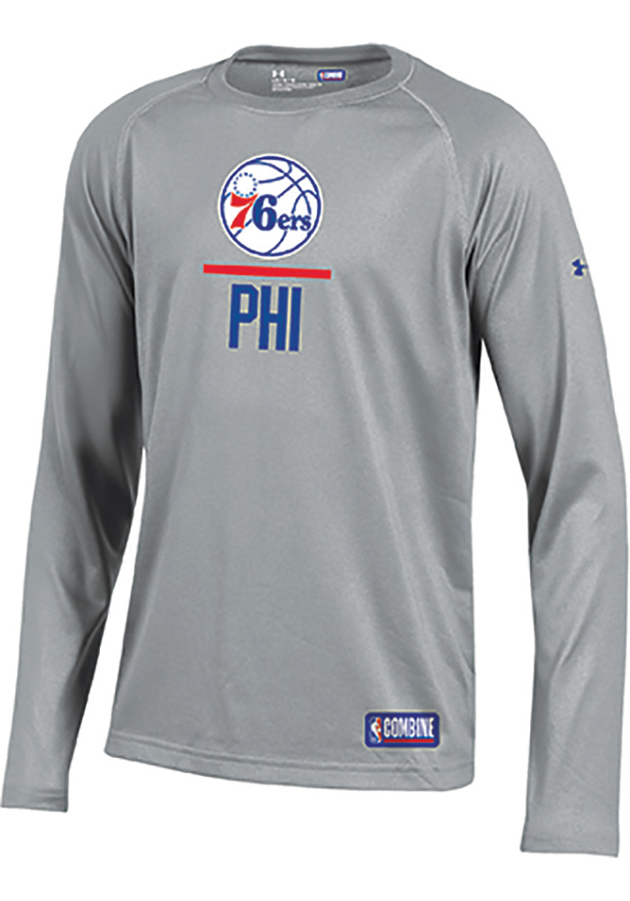 discount a0c9b a8cae Under Armour Philadelphia 76ers Youth Grey Lockup Long Sleeve T-Shirt