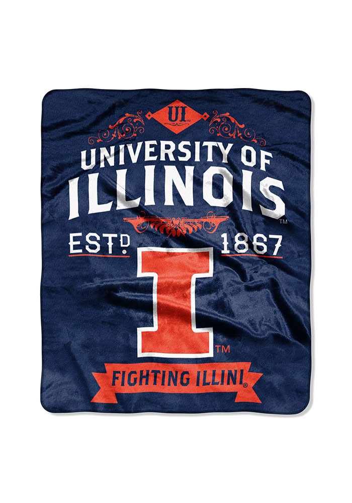 Illinois Fighting Illini 50x60 Label Raschel Blanket - Image 1