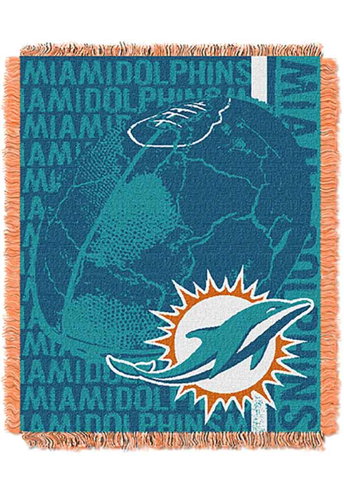 Miami Dolphins 46x60 Double Play Jacquard Tapestry Blanket - Image 1