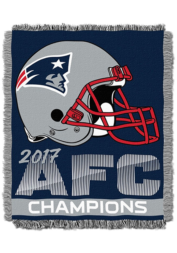 New England Patriots 2017 AFC Champions 46x60 Woven Tapestry Blanket - Image 1