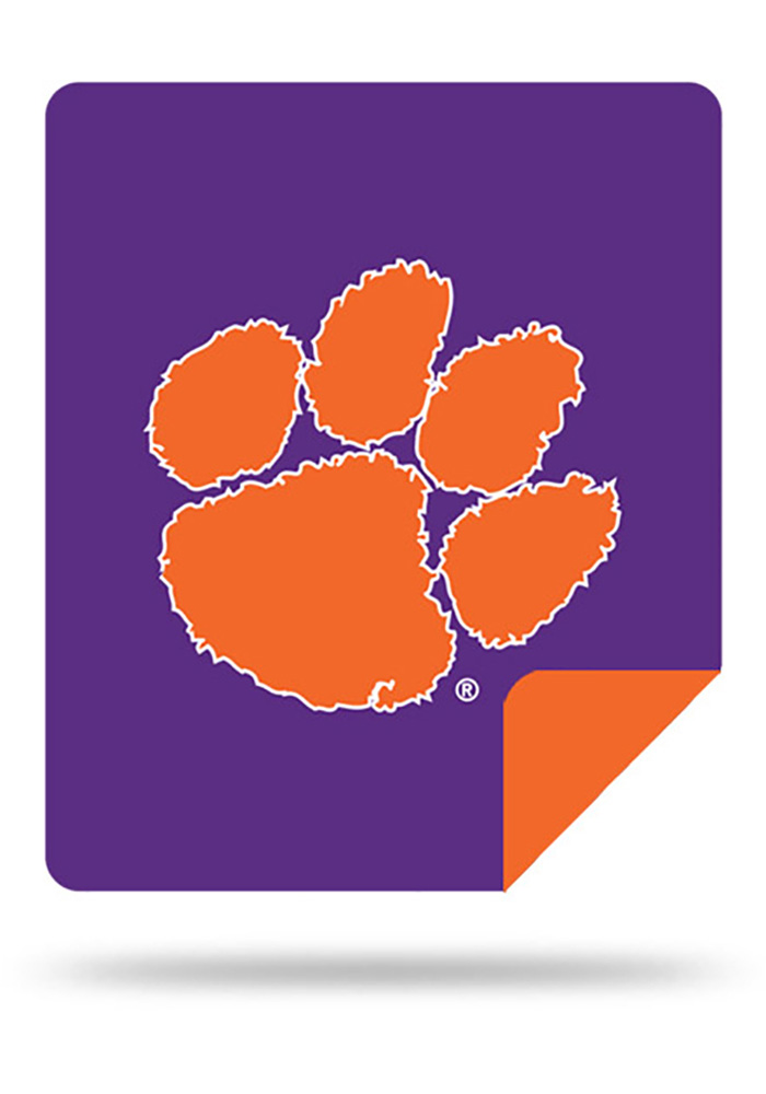 Clemson Tigers 60x72 Silver Knit Throw Blanket - Image 1