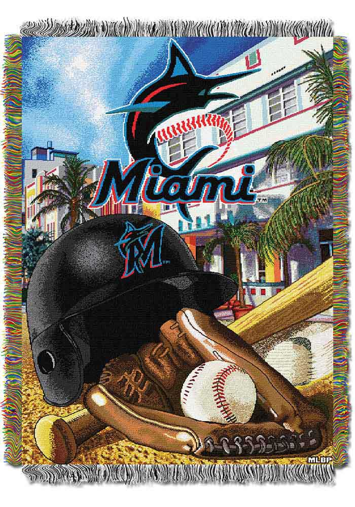 Miami Marlins 48x60 Home Field Advantage Tapestry Blanket - Image 1
