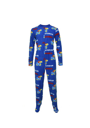 KU Jayhawks Mens Blue Facade Union Suit Sleep Pants