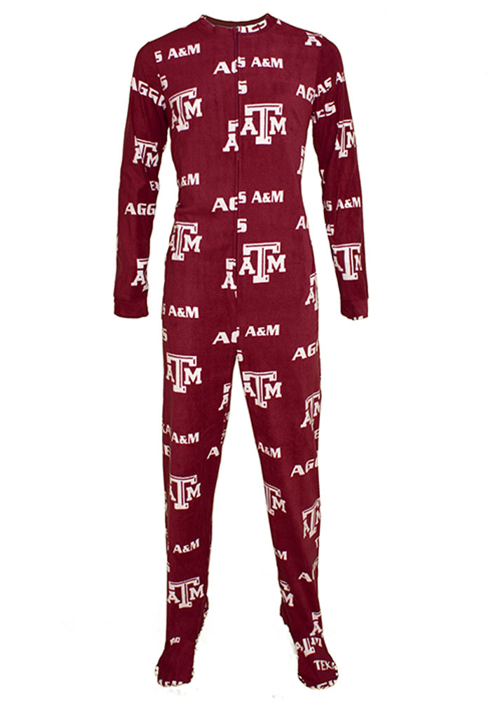 Texas A&M Aggies Mens Maroon Facade Union Suit Sleep Pants - Image 1