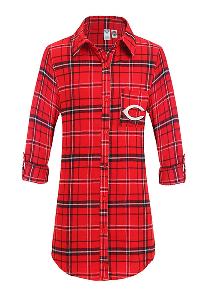Cincinnati Reds Womens Red Flannel Loungewear Sleep Shirt - Image 1