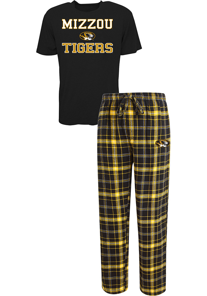 Missouri Tigers Mens Black Halftime Sleep Set, Black, 60% COTTON / 40% POLYESTER, Size L