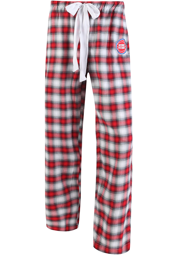 Detroit Pistons Womens Red Plaid Forge Sleep Pants - Image 1