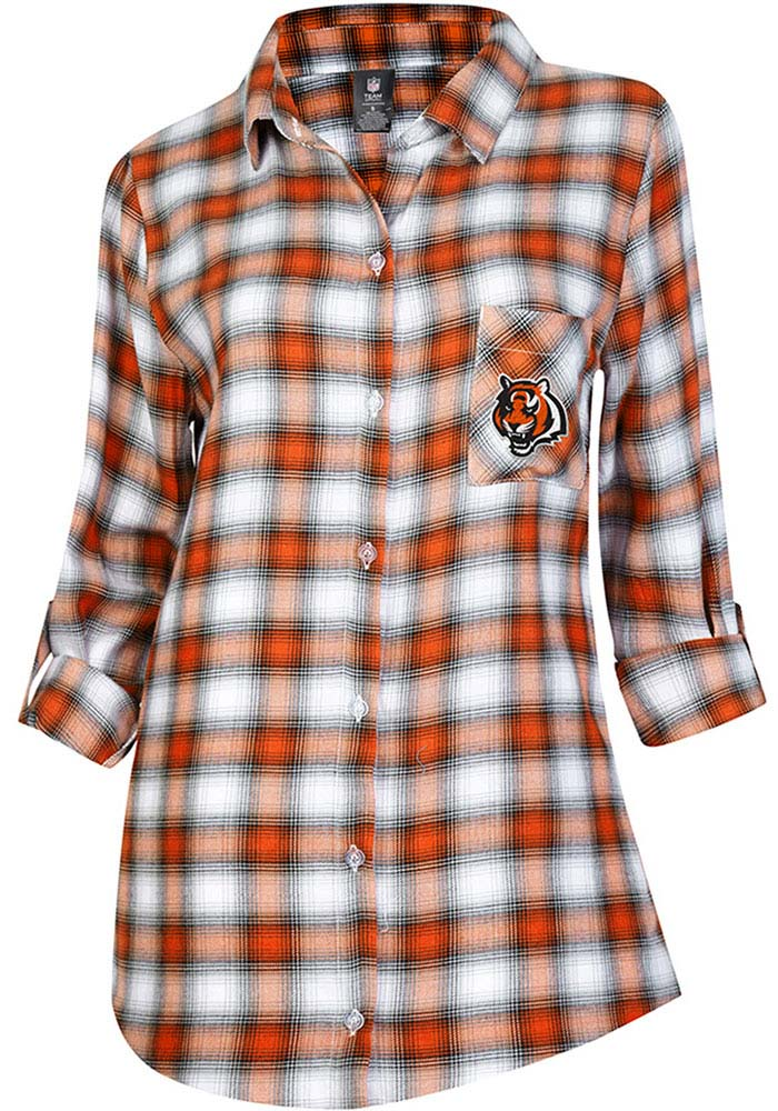 Cincinnati Bengals Womens Orange Plaid Forge Loungewear Sleep Shirt - Image 1