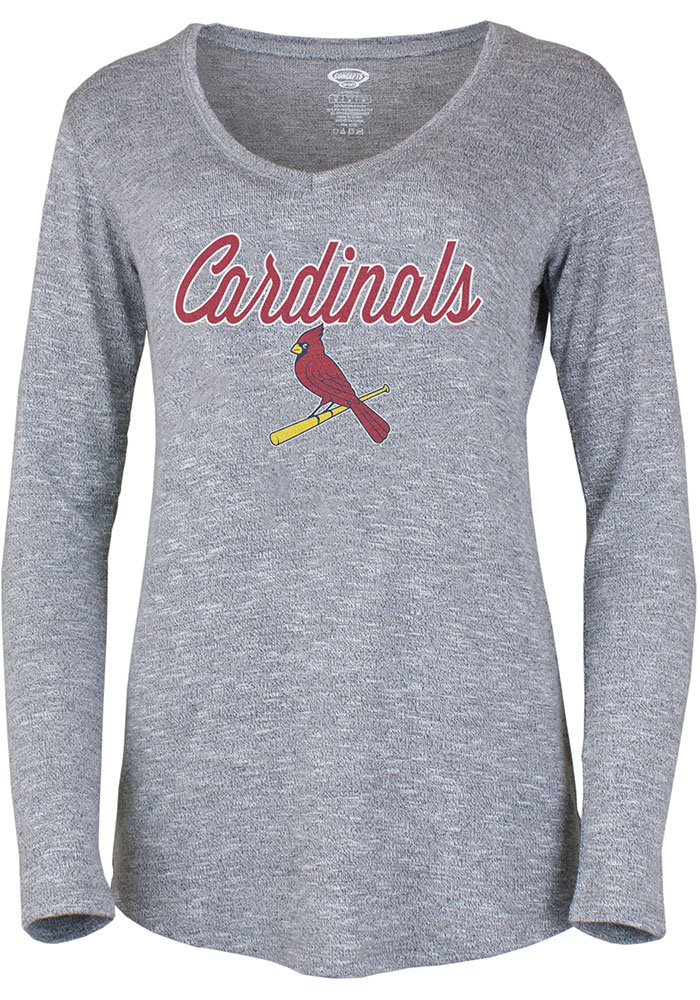 St Louis Cardinals Womens Grey Layover Loungewear Sleep Shirt - Image 1