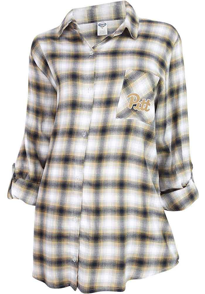 Pitt panthers womens navy blue forge plaid loungewear for Womens navy plaid shirt