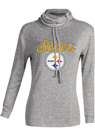 Pittsburgh Steelers Womens Layover Grey Crew Sweatshirt
