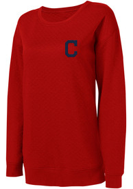 Cleveland Indians Womens Lunar Quilted Red Crew Sweatshirt