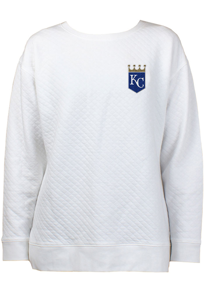 Kansas City Royals Womens White Lunar Quilted Crew Sweatshirt - Image 1
