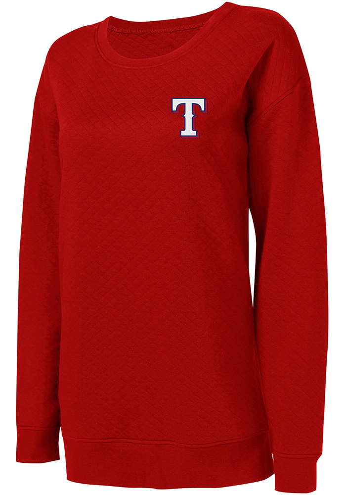 Texas Rangers Womens Red Lunar Quilted Crew Sweatshirt - Image 1