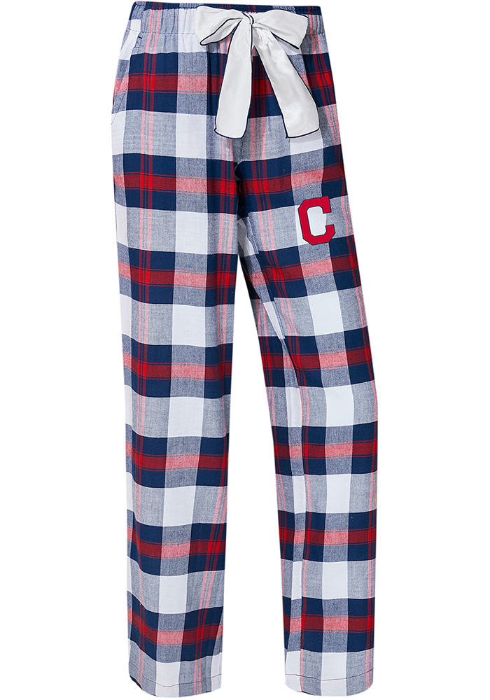 Cleveland Indians Womens Navy Blue Headway Plaid Loungewear Sleep Pants - Image 1