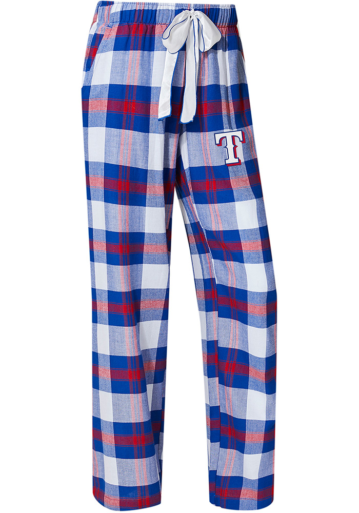 Texas Rangers Womens Blue Headway Plaid Loungewear Sleep Pants - Image 1