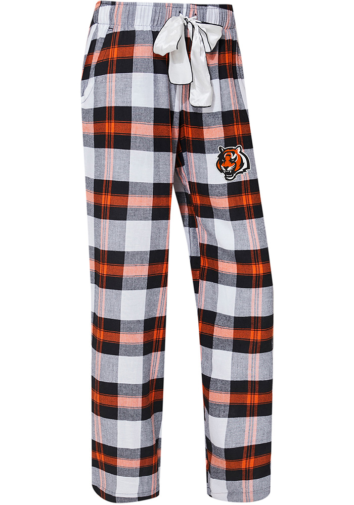 Cincinnati Bengals Womens Black Headway Plaid Loungewear Sleep Pants - Image 1